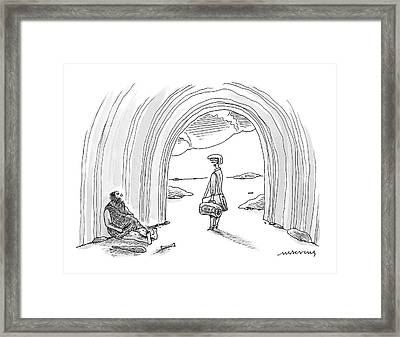 Modern Woman Walking Out On A Caveman Framed Print