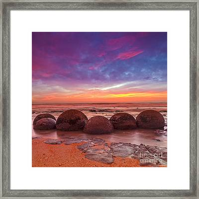 Moeraki Boulders Otago New Zealand Framed Print by Colin and Linda McKie
