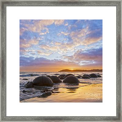 Moeraki Boulders Otago New Zealand Sunrise Framed Print by Colin and Linda McKie