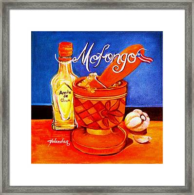 Framed Print featuring the painting Mofongo En El Pilon  by Yolanda Rodriguez