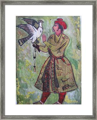 Framed Print featuring the painting Moghul With Eagle by Vikram Singh