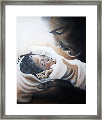 Mohammad Ali And Baby Laila Framed Print