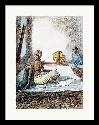 Mohandas Gandhi Drawings Framed Prints