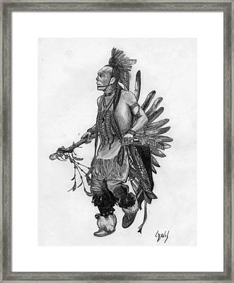 Mohawk Dancer Framed Print by Lew Davis