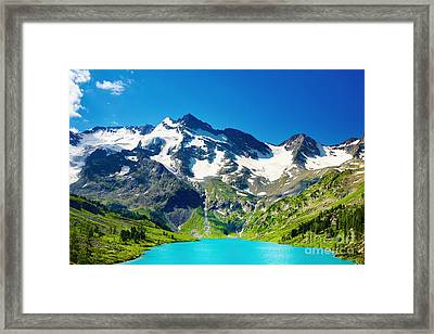 Mointain And Lake Beautiful Framed Print by Boon Mee