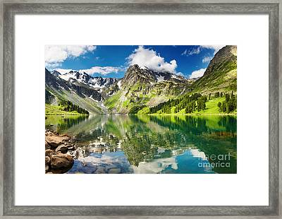 Mointain And Lake Framed Print by Boon Mee