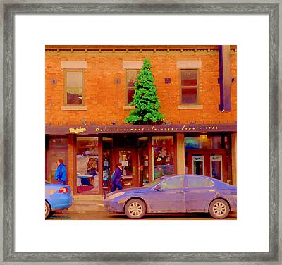 Moishes On The Main At Christmas Time Montreal Restaurant Winter City Scene Art Carole Spandau Framed Print by Carole Spandau