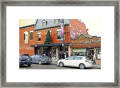 Moishes Restaurant Plateau Montreal Memories Vintage Landmark  Winter Scene Art Carole Spandau  Framed Print by Carole Spandau