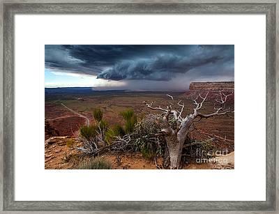 Moki Dugway Thunderstorm - Southern Utah Framed Print