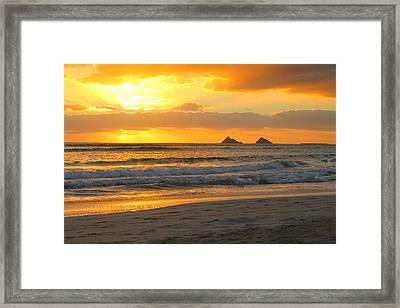 Mokulua Sunrise Framed Print by Saya Studios