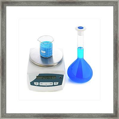 Molar Solution Of Copper Sulphate Framed Print by Science Photo Library