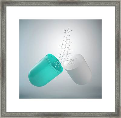 Molecular Model And Capsule Framed Print by Andrzej Wojcicki