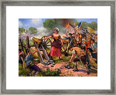 Molly Pitcher Firing Cannon At Battle Of Monmouth Framed Print