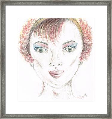 Framed Print featuring the drawing Mollys Makeover/ Pink Day by Teresa White