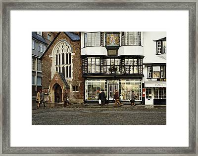 Mols Coffee House From 1596 Cathedral Close Exeter Uk 1980s Framed Print by David Davies