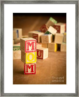 Mom Alphabet Blocks Framed Print by Edward Fielding