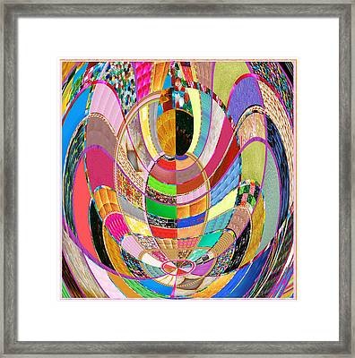 Mom Hugs Baby Crystal Stone Collage Layered In Small And Medium Sizes Variety Of Shades And Tones Fr Framed Print