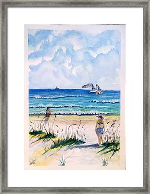 Framed Print featuring the painting Mom Son Beach by Richard Benson