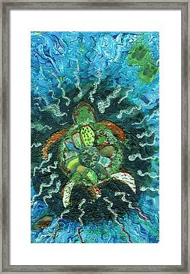 Mom There Is A Turtle In The Swimming Pool  Framed Print by Anne-Elizabeth Whiteway