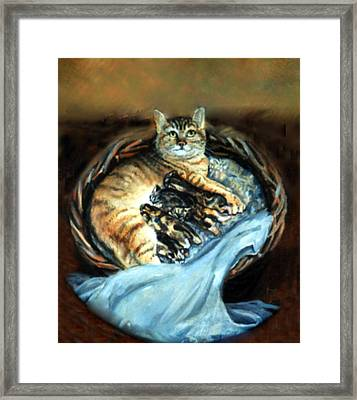 Mom With Her Kittens Framed Print