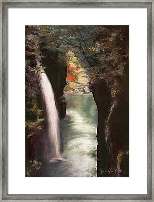 Moment Of Eternity - Takachiho Falls Framed Print by Marie-Claire Dole