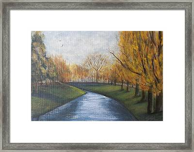 Framed Print featuring the painting Moment Of Silence Avon River Christchurch by Jane  See