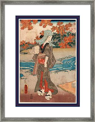 Momiji To Onna, A Woman Beneath Maple Leaves. 1854 Framed Print