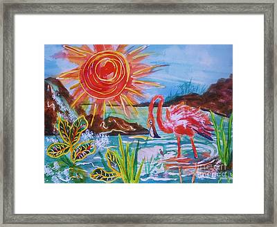 Momma And Baby Flamingo Chillin In A Blue Lagoon  Framed Print