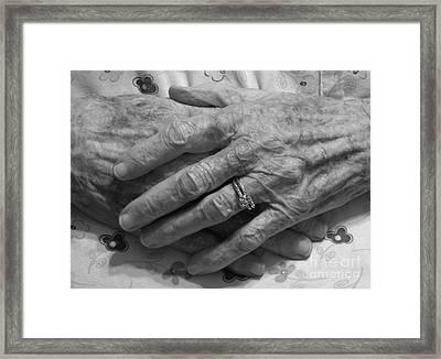 Mommas Hands Framed Print by D Hackett