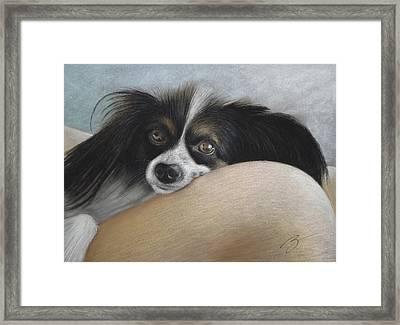 Mommie's Lap - Pastel Framed Print