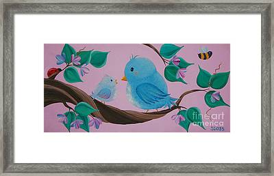 Mommy-baby Birds Framed Print