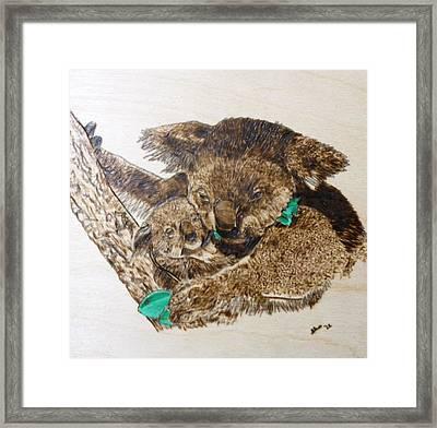 Mommy Koala Bear And Cub Pyrographic Wood Burn Original 5.75 X 5.75 Framed Print by Shannon Ivins