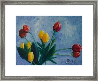 Mom's Tulips Framed Print by Beatriz Topete