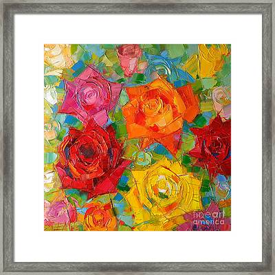 Mon Amour La Rose Framed Print by Mona Edulesco