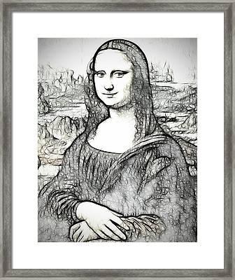 Mona Lisa Abstract Digital Painting  Framed Print by Georgeta Blanaru