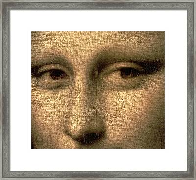 Mona Lisa    Detail Framed Print by Leonardo Da Vinci