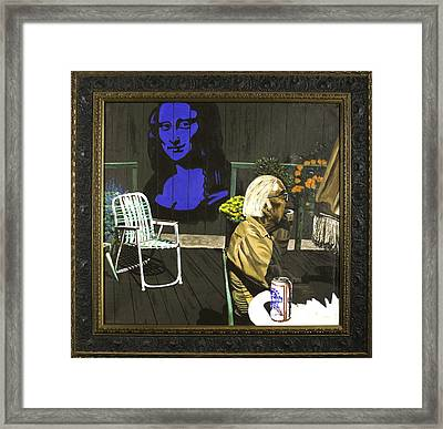 Framed Print featuring the painting Mona Lisa On The Patio by Herb Van de Eau
