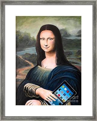 Mona Lisa With Ipad Framed Print