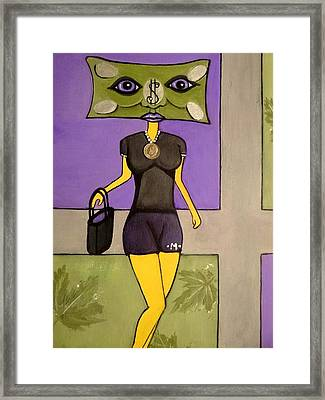 Mona Money Minded  Framed Print by Carrie Clayton-Khep