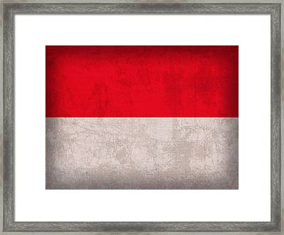 Monaco Flag Vintage Distressed Finish Framed Print