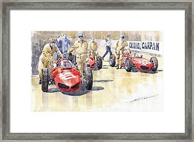 Monaco Gp 1961 Ferrari 156 Sharknose  Framed Print by Yuriy  Shevchuk
