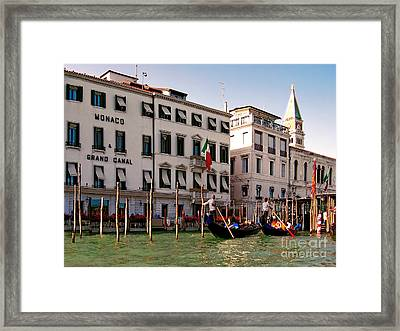 Monaco Grand Canal.venice Framed Print by Jennie Breeze