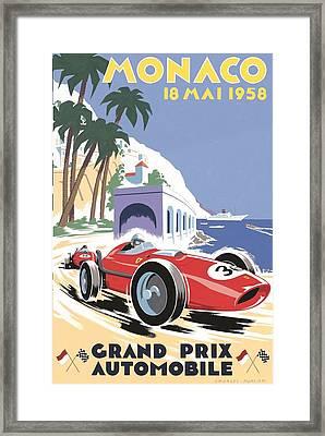 Monaco Grand Prix 1958 Framed Print by Georgia Fowler