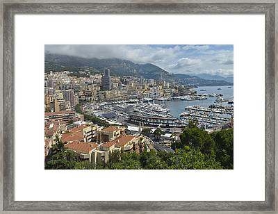 Framed Print featuring the photograph Monaco Harbor by Allen Sheffield