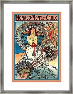 Monaco Monte Carlo Framed Print by Alphonse Maria Mucha