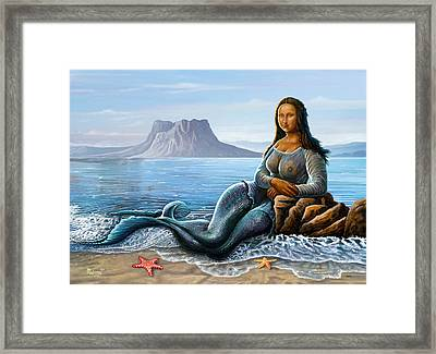 Framed Print featuring the digital art Monalisa Mermaid by Anthony Mwangi