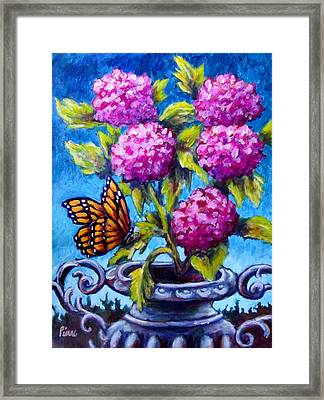 Monarch And Flowers Framed Print by Sebastian Pierre