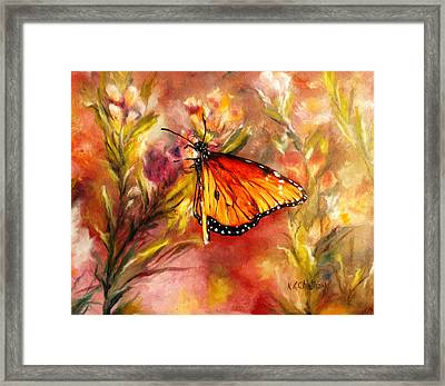 Framed Print featuring the painting Monarch Beauty by Karen Kennedy Chatham