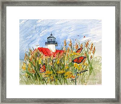 Monarch Butterflies At East Point Light Framed Print