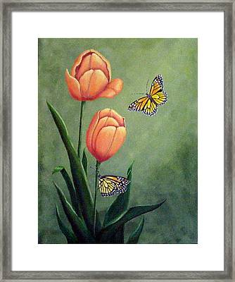 Monarchs And Golden Tulips Framed Print